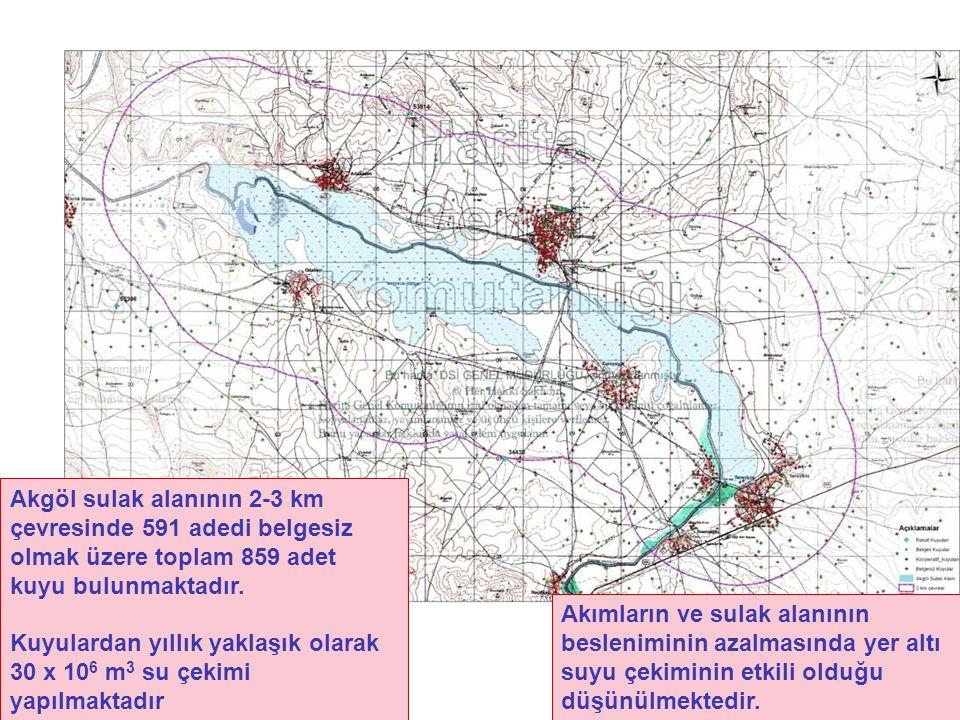 Akgöl sulak alanının 2-3 km çevresinde 591 adedi belgesiz olmak üzere toplam 859 adet kuyu bulunmaktadır.