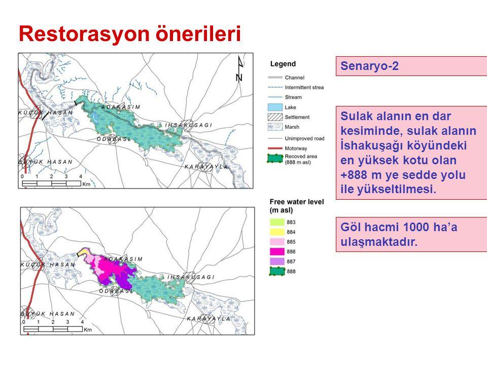Restorasyon önerileri Senaryo-2 Sulak alanın en dar kesiminde, sulak alanın İshakuşağı köyündeki en yüksek kotu olan +888 m ye sedde yolu ile yükseltilmesi.