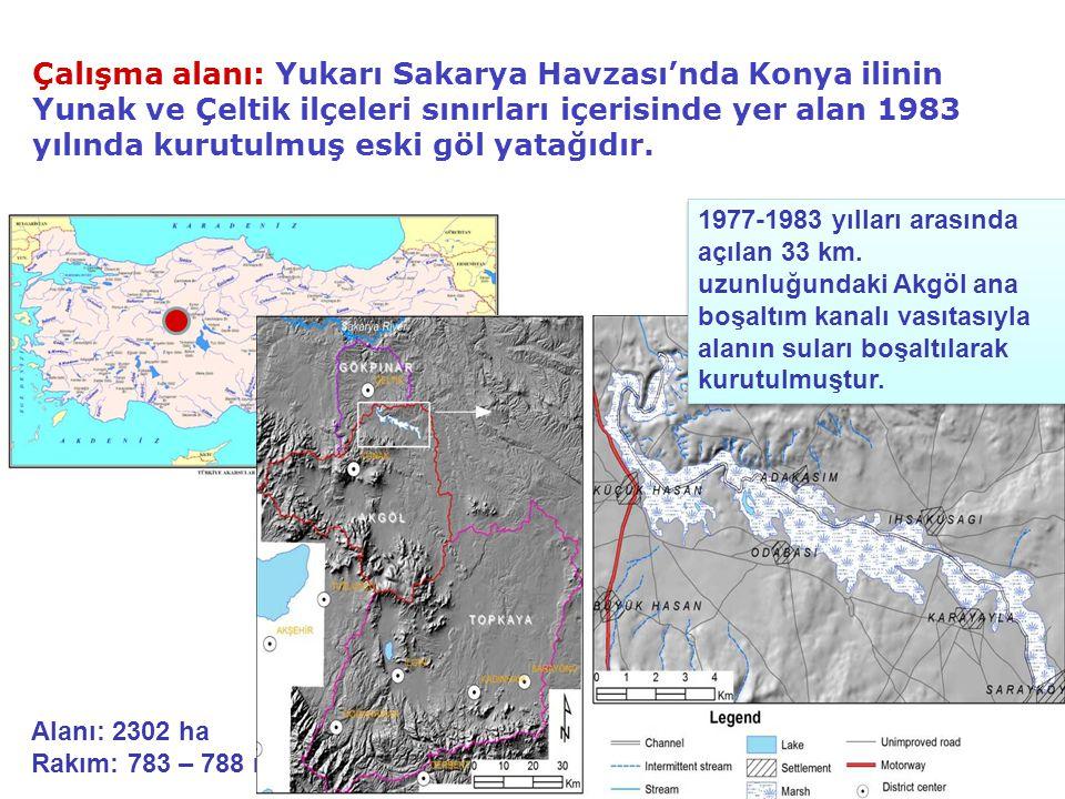Çalışma alanı: Yukarı Sakarya Havzası'nda Konya ilinin Yunak ve Çeltik ilçeleri sınırları içerisinde yer alan 1983 yılında kurutulmuş eski göl yatağıdır.