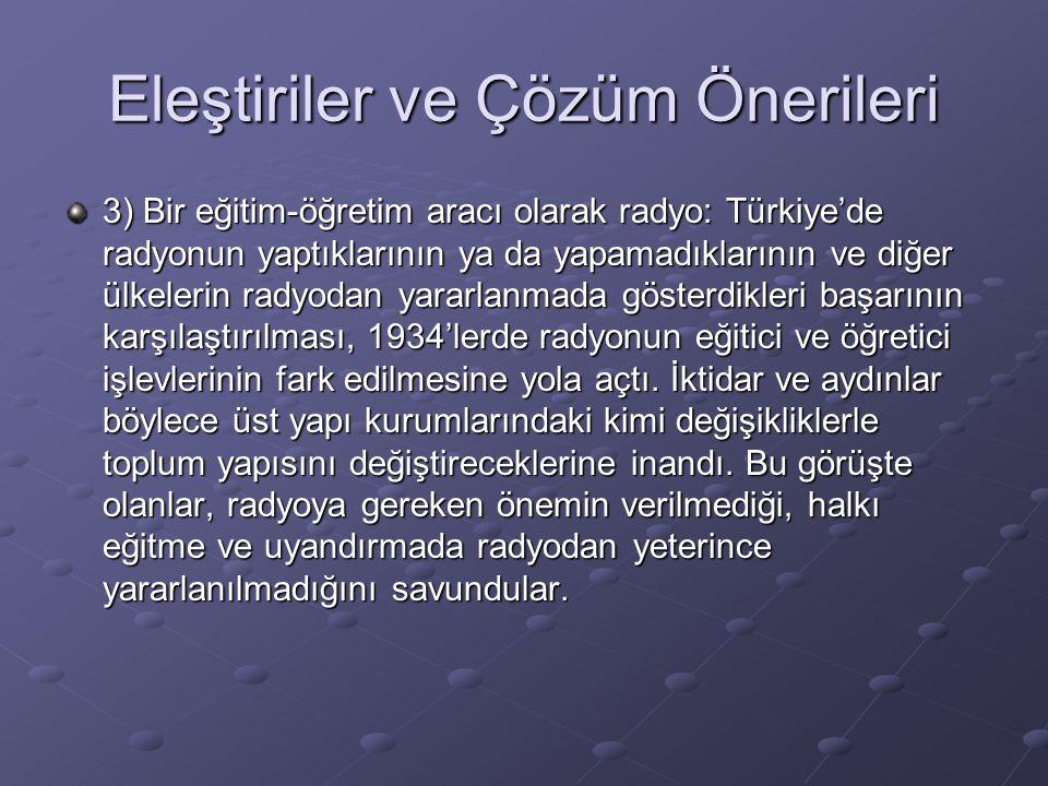 Eleştiriler ve Çözüm Önerileri 3) Bir eğitim-öğretim aracı olarak radyo: Türkiye'de radyonun yaptıklarının ya da yapamadıklarının ve diğer ülkelerin r