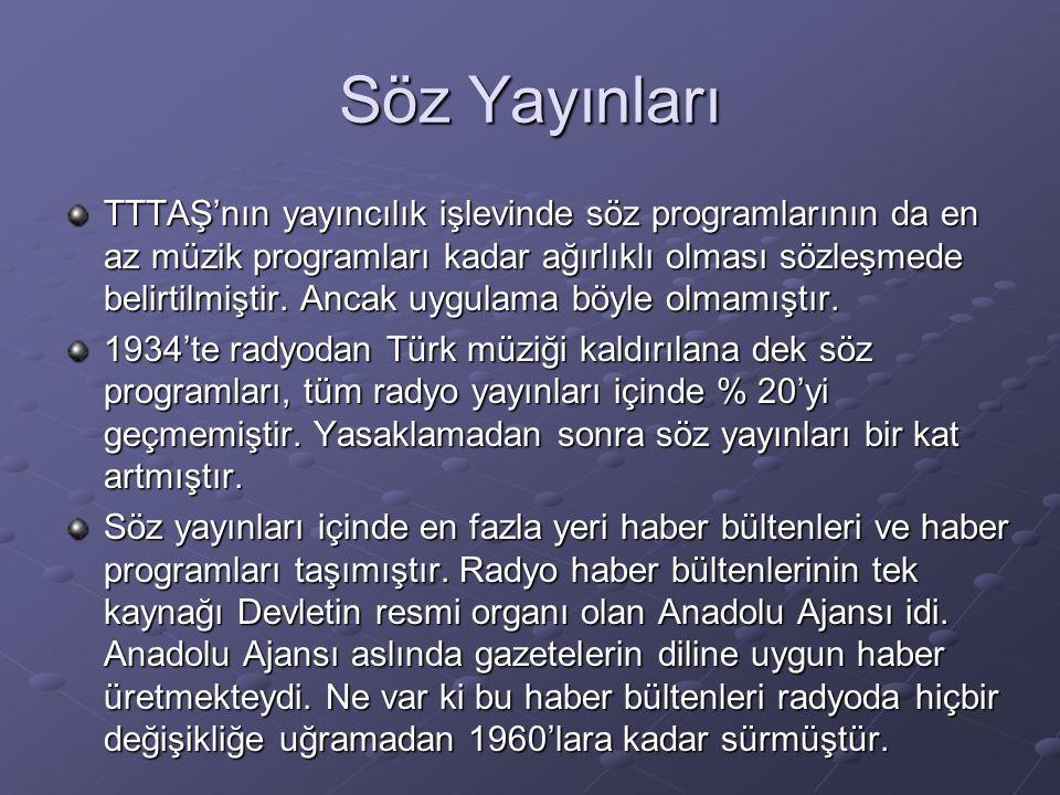 Söz Yayınları TTTAŞ'nın yayıncılık işlevinde söz programlarının da en az müzik programları kadar ağırlıklı olması sözleşmede belirtilmiştir. Ancak uyg