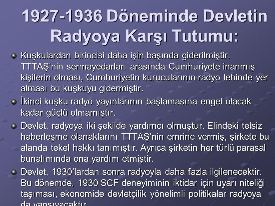 1927-1936 Döneminde Devletin Radyoya Karşı Tutumu: Kuşkulardan birincisi daha işin başında giderilmiştir. TTTAŞ'nin sermayedarları arasında Cumhuriyet