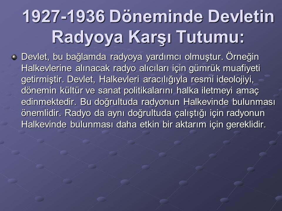 1927-1936 Döneminde Devletin Radyoya Karşı Tutumu: Devlet, bu bağlamda radyoya yardımcı olmuştur. Örneğin Halkevlerine alınacak radyo alıcıları için g