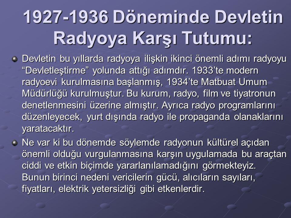 """1927-1936 Döneminde Devletin Radyoya Karşı Tutumu: Devletin bu yıllarda radyoya ilişkin ikinci önemli adımı radyoyu """"Devletleştirme"""" yolunda attığı ad"""