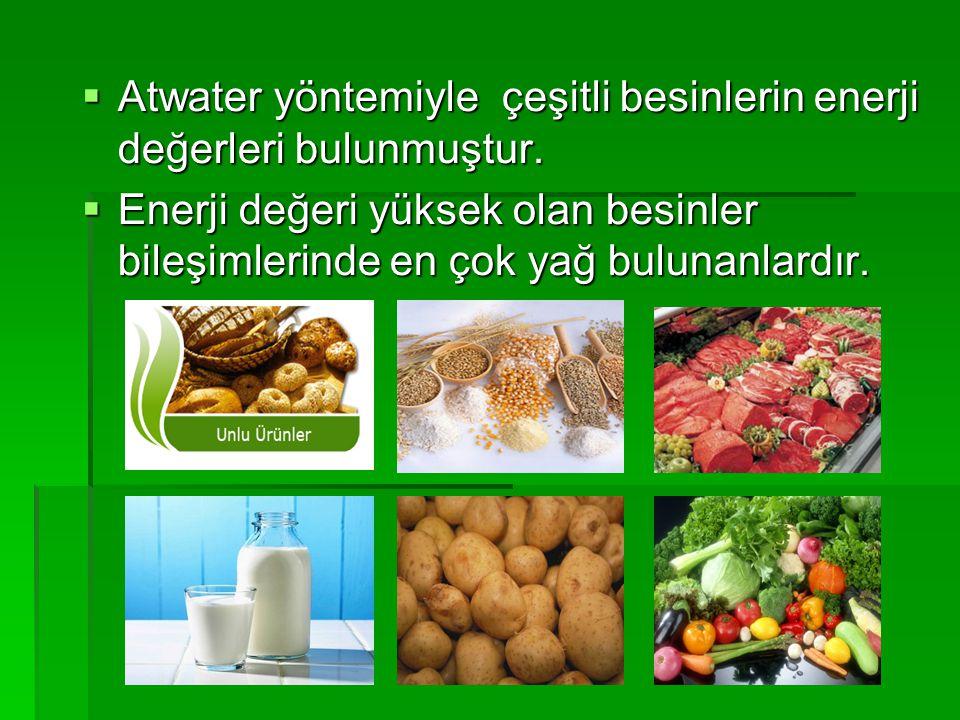  Atwater yöntemiyle çeşitli besinlerin enerji değerleri bulunmuştur.  Enerji değeri yüksek olan besinler bileşimlerinde en çok yağ bulunanlardır.