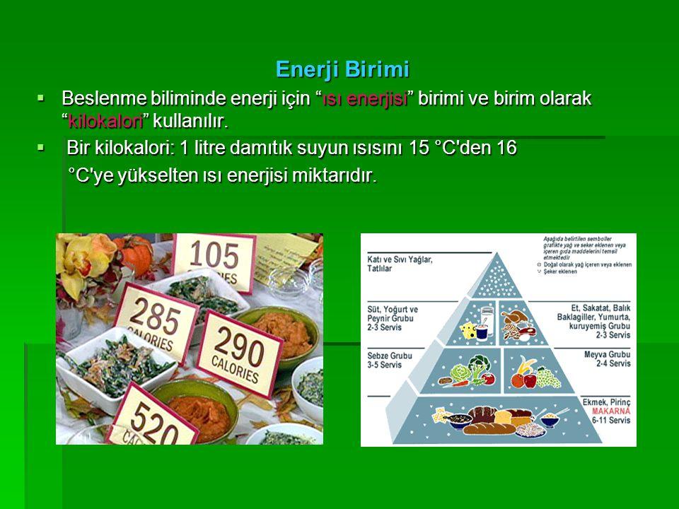 """Enerji Birimi  Beslenme biliminde enerji için """"ısı enerjisi"""" birimi ve birim olarak """"kilokalori"""" kullanılır.  Bir kilokalori: 1 litre damıtık suyun"""