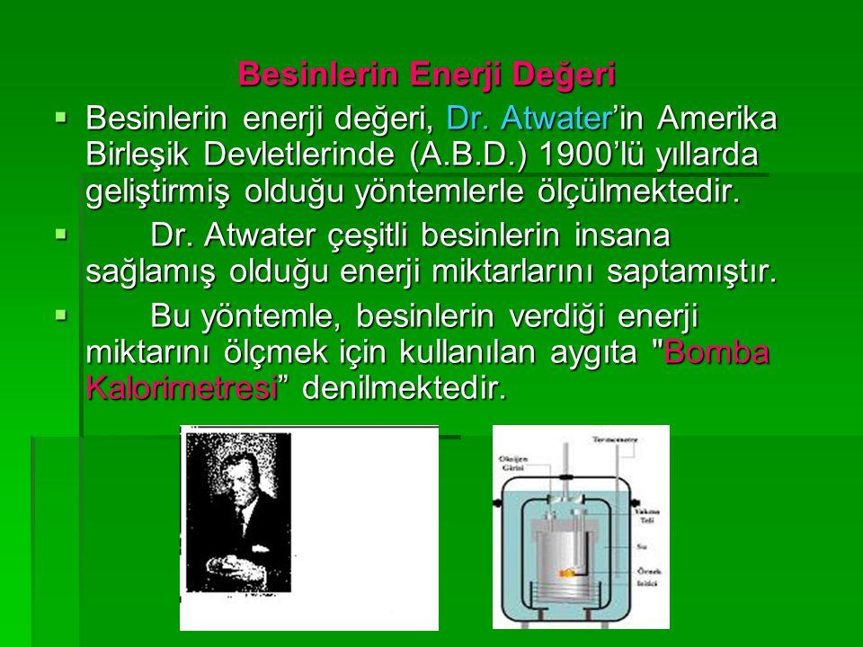 Besinlerin Enerji Değeri Besinlerin Enerji Değeri  Besinlerin enerji değeri, Dr. Atwater'in Amerika Birleşik Devletlerinde (A.B.D.) 1900'lü yıllarda