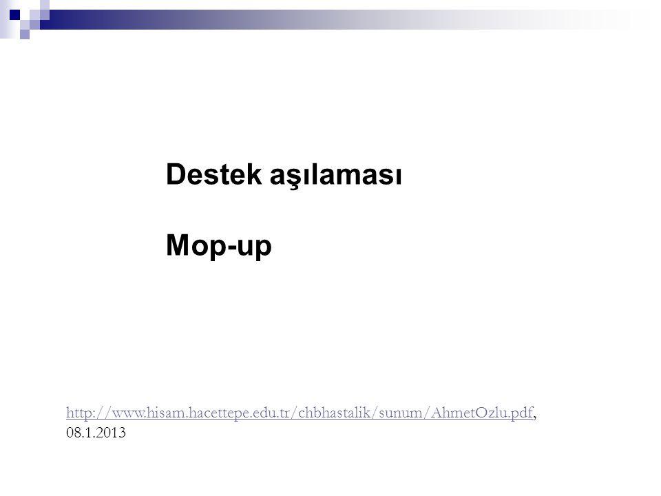 Destek aşılaması Mop-up http://www.hisam.hacettepe.edu.tr/chbhastalik/sunum/AhmetOzlu.pdfhttp://www.hisam.hacettepe.edu.tr/chbhastalik/sunum/AhmetOzlu