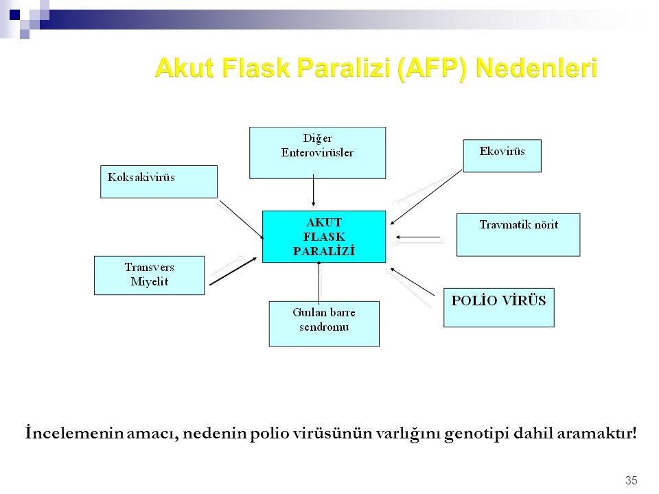 35 İncelemenin amacı, nedenin polio virüsünün varlığını genotipi dahil aramaktır!