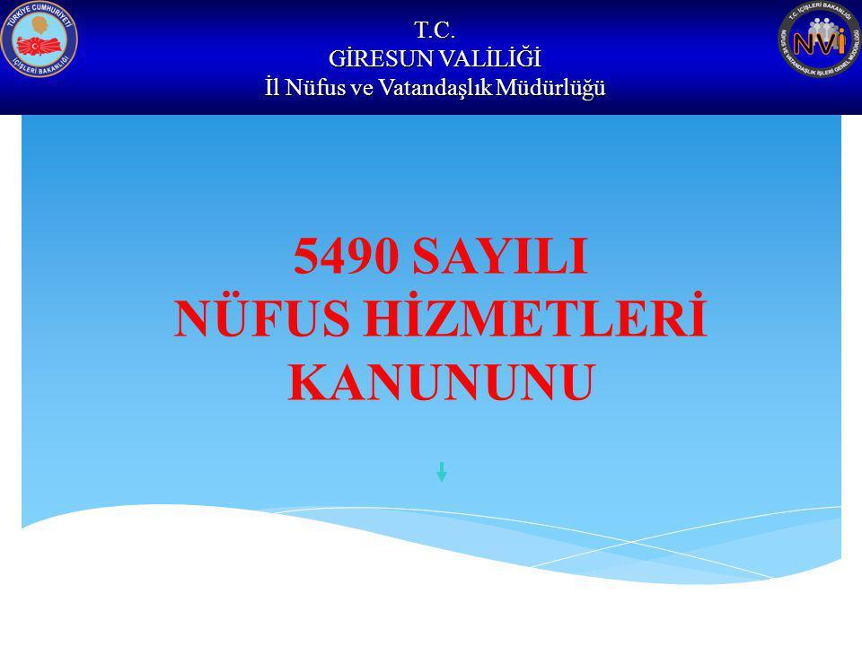 T.C. GİRESUN VALİLİĞİ İl Nüfus ve Vatandaşlık Müdürlüğü 5490 SAYILI NÜFUS HİZMETLERİ KANUNUNU