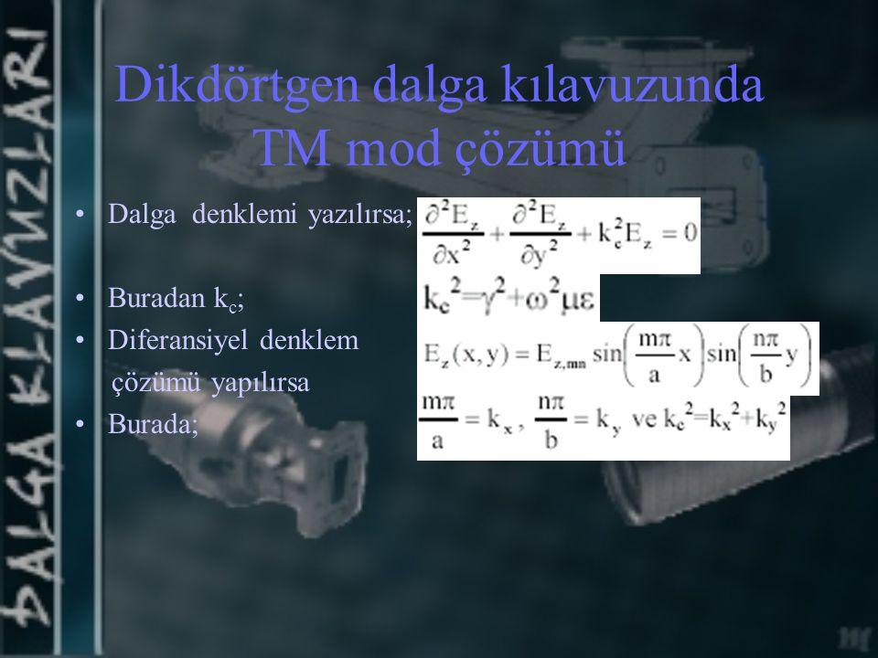 Dikdörtgen dalga kılavuzunda TM mod çözümü Dalga denklemi yazılırsa; Buradan k c ; Diferansiyel denklem çözümü yapılırsa Burada;