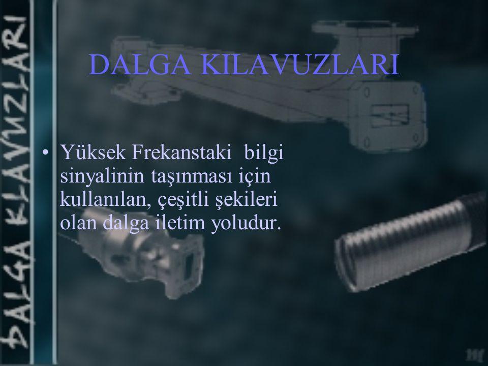 DALGA KILAVUZLARI Yüksek Frekanstaki bilgi sinyalinin taşınması için kullanılan, çeşitli şekileri olan dalga iletim yoludur.