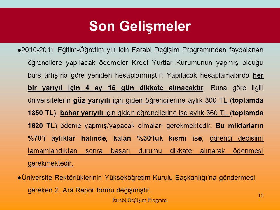 Son Gelişmeler ●2010-2011 Eğitim-Öğretim yılı için Farabi Değişim Programından faydalanan öğrencilere yapılacak ödemeler Kredi Yurtlar Kurumunun yapmı