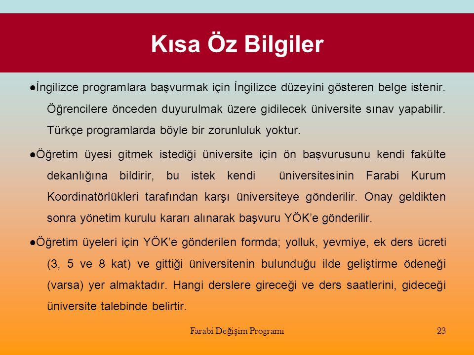 Kısa Öz Bilgiler ●İngilizce programlara başvurmak için İngilizce düzeyini gösteren belge istenir. Öğrencilere önceden duyurulmak üzere gidilecek ünive
