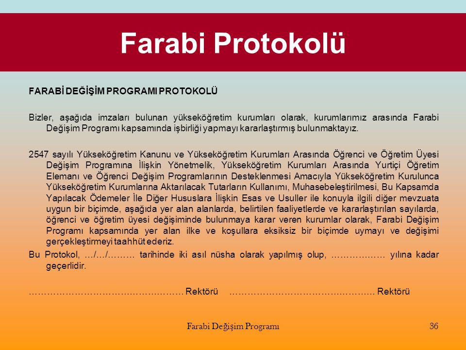 Farabi Protokolü Farabi Değişim Programı36 FARABİ DEĞİŞİM PROGRAMI PROTOKOLÜ Bizler, aşağıda imzaları bulunan yükseköğretim kurumları olarak, kurumlar