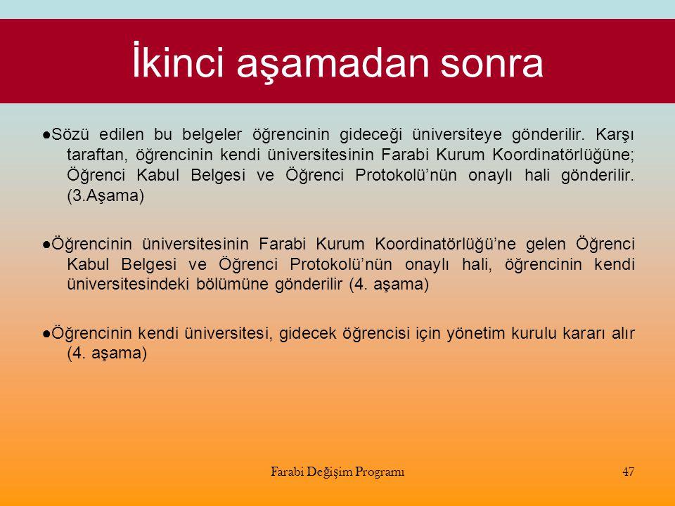 İkinci aşamadan sonra ●Sözü edilen bu belgeler öğrencinin gideceği üniversiteye gönderilir. Karşı taraftan, öğrencinin kendi üniversitesinin Farabi Ku