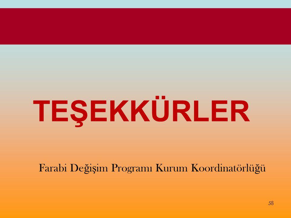 TEŞEKKÜRLER Farabi De ğ i ş im Programı Kurum Koordinatörlü ğ ü 58