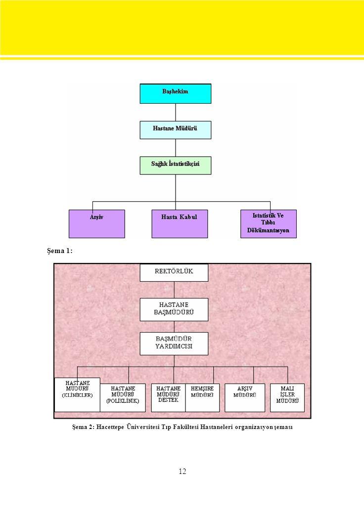 12 Şema 1: Şema 2: Hacettepe Üniversitesi Tıp Fakültesi Hastaneleri organizasyon şeması