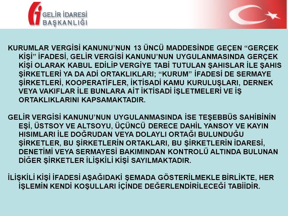 """KURUMLAR VERGİSİ KANUNU'NUN 13 ÜNCÜ MADDESİNDE GEÇEN """"GERÇEK KİŞİ"""" İFADESİ, GELİR VERGİSİ KANUNU'NUN UYGULANMASINDA GERÇEK KİŞİ OLARAK KABUL EDİLİP VE"""