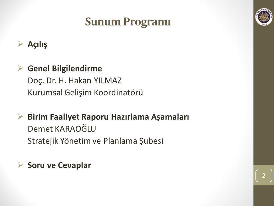Sunum Programı 2  Açılış  Genel Bilgilendirme Doç.