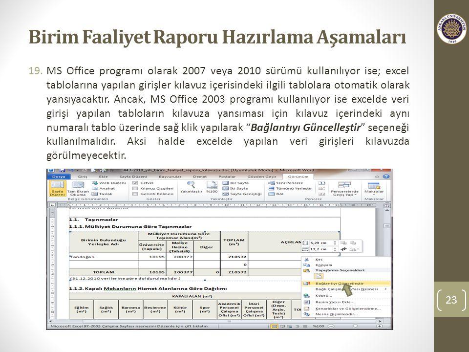 Birim Faaliyet Raporu Hazırlama Aşamaları 19.MS Office programı olarak 2007 veya 2010 sürümü kullanılıyor ise; excel tablolarına yapılan girişler kılavuz içerisindeki ilgili tablolara otomatik olarak yansıyacaktır.