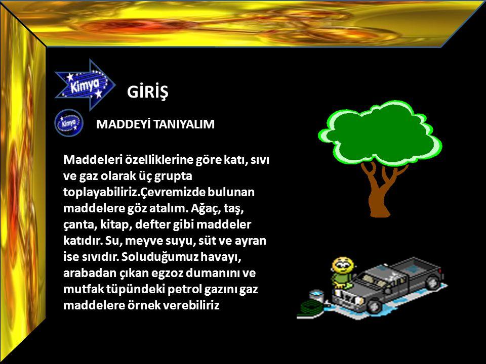 GİRİŞ Maddeleri özelliklerine göre katı, sıvı ve gaz olarak üç grupta toplayabiliriz.Çevremizde bulunan maddelere göz atalım. Ağaç, taş, çanta, kitap,