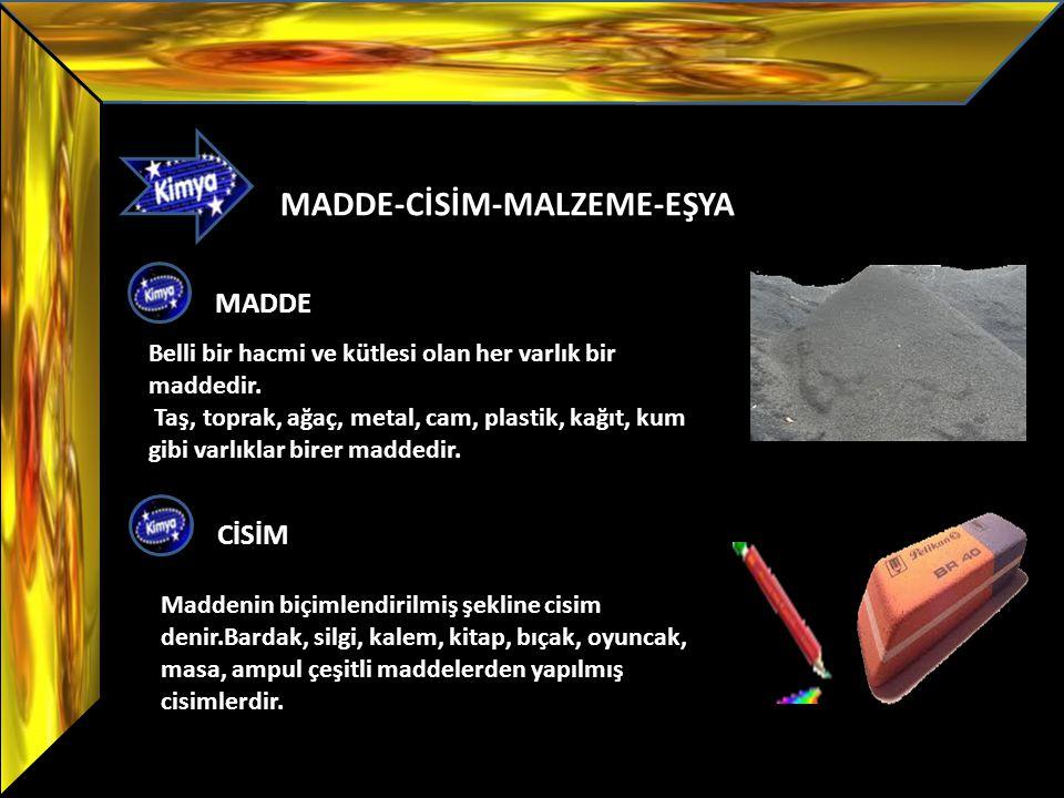 MADDE-CİSİM-MALZEME-EŞYA MADDE Belli bir hacmi ve kütlesi olan her varlık bir maddedir. Taş, toprak, ağaç, metal, cam, plastik, kağıt, kum gibi varlık