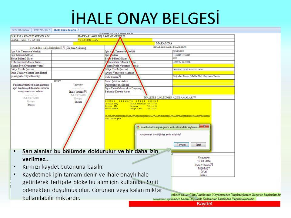 İHALE ONAY BELGESİ Sarı alanlar bu bölümde doldurulur ve bir daha izin verilmez.. Kırmızı kaydet butonuna basılır. Kaydetmek için tamam denir ve ihale