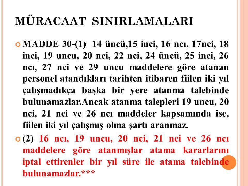 MÜRACAAT SINIRLAMALARI MADDE 30-(1) 14 üncü,15 inci, 16 ncı, 17nci, 18 inci, 19 uncu, 20 nci, 22 nci, 24 üncü, 25 inci, 26 ncı, 27 nci ve 29 uncu madd
