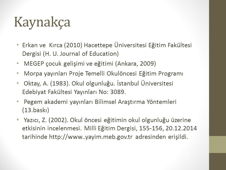 Kaynakça Erkan ve Kırca (2010) Hacettepe Üniversitesi Eğitim Fakültesi Dergisi (H. U. Journal of Education) MEGEP çocuk gelişimi ve eğitimi (Ankara, 2