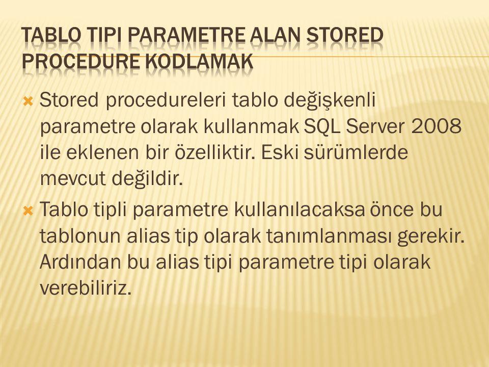  Stored procedureleri tablo değişkenli parametre olarak kullanmak SQL Server 2008 ile eklenen bir özelliktir. Eski sürümlerde mevcut değildir.  Tabl