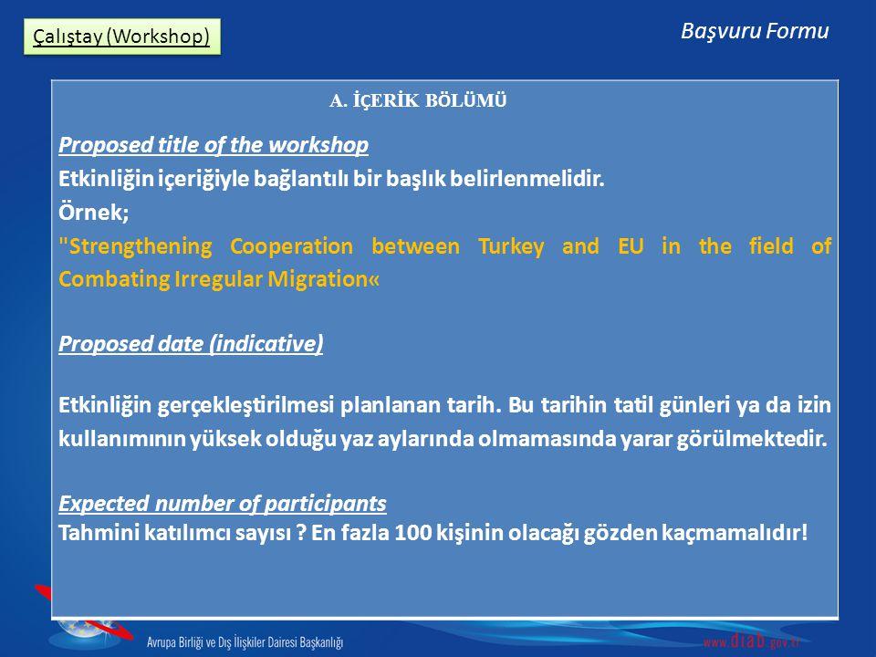 Çalıştay (Workshop) Başvuru Formu Proposed title of the workshop Etkinliğin içeriğiyle bağlantılı bir başlık belirlenmelidir.