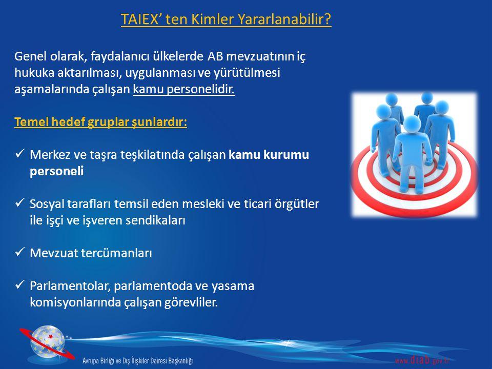 TAIEX teknik desteği için yapılacak başvuruları Avrupa Birliği Bakanlığı koordine etmektedir.