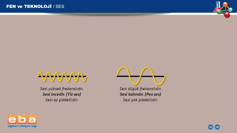 FEN ve TEKNOLOJİ / SES 7 Sesi yüksek frekanslıdır. Sesi incedir. (Tiz ses) Sesi az şiddetlidir. Sesi düşük frekanslıdır. Sesi kalındır. (Pes ses) Sesi