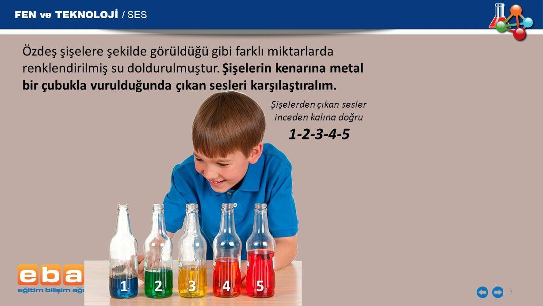 FEN ve TEKNOLOJİ / SES 9 Özdeş şişelere şekilde görüldüğü gibi farklı miktarlarda renklendirilmiş su doldurulmuştur. Şişelerin kenarına metal bir çubu