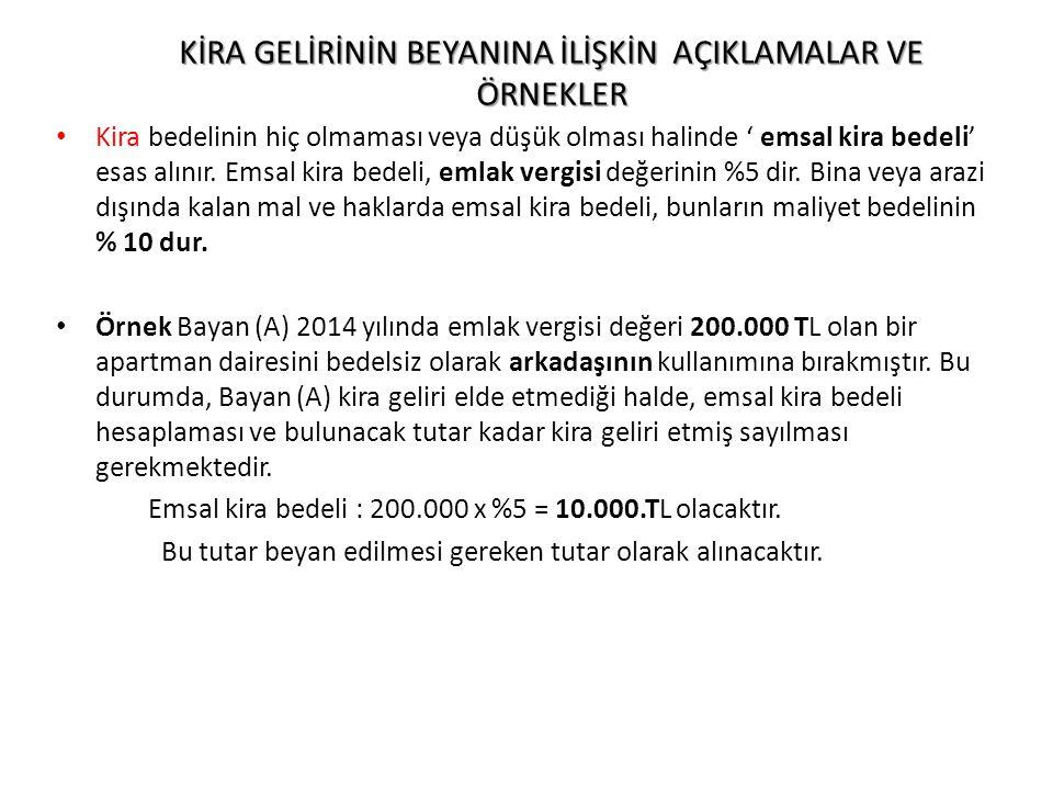 2014 YILI Bay(Y) 'nin Beyanı; GELİRLER AÇIKLAMATUTARTEVKİFAT 2014 YILI TİCARİ KAZANCI67.000 60.000+7.000 Ödenmeyen.SGK = 67.000 mali kara ulaşmak için hes.
