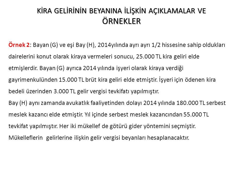 Bayan (G)'nin Beyanı: Bayan (G)'nin gelir vergisi tevkifatına tabi tutulan işyeri kira geliri 15.000 TL ile hissesine düşen konut kira gelirinin gelir vergisinden istisna tutarı aşan kısmı (12.500 – 3.300 =) 9.200 TL birlikte dikkate alındığında (15.000 + 9.200 =) 24.200 TL Gayrisafi İrat Toplamı 12.500 TL Vergiden İstisna Tutar (-) 3.300 TL Kalan (12.500 – 3.300) 9.200 TL Götürü Gider (9.200 x %25) (-) 2.300 TL Vergiye Tabi Gelir (9.200 – 2.325) 6.900 TL Gelir Vergisi 1.035 TL AÇIKLAMATUTARTEVKİFAT MESKEN KİRA GELİRİ12.500 İŞYERİ KİRA GELİRİ15.0003.000 NOT : 2014 YILI İÇİN BEYANNAME VERME SINIRI OLAN 27.000 TL'Yİ AŞMADIĞINDAN, İŞYERİ KİRA GELİRİ BEYAN EDİLMEYECEKTİR.