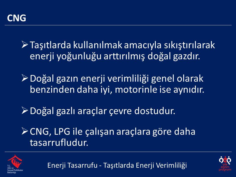  Taşıtlarda kullanılmak amacıyla sıkıştırılarak enerji yoğunluğu arttırılmış doğal gazdır.  Doğal gazın enerji verimliliği genel olarak benzinden da