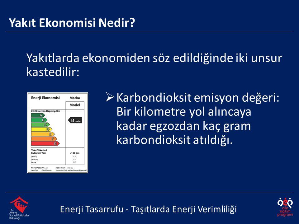 Yakıtlarda ekonomiden söz edildiğinde iki unsur kastedilir: Enerji Tasarrufu - Taşıtlarda Enerji Verimliliği Yakıt Ekonomisi Nedir?  Karbondioksit em