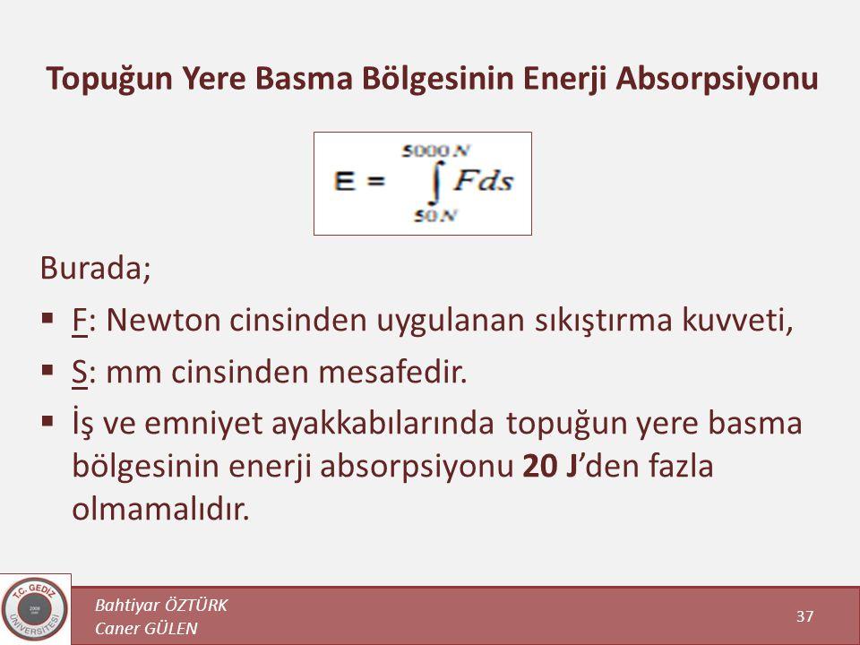 Bahtiyar ÖZTÜRK Caner GÜLEN 37 Topuğun Yere Basma Bölgesinin Enerji Absorpsiyonu Burada;  F: Newton cinsinden uygulanan sıkıştırma kuvveti,  S: mm c