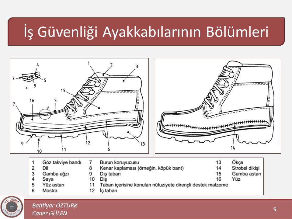 Bahtiyar ÖZTÜRK Caner GÜLEN 9 İş Güvenliği Ayakkabılarının Bölümleri