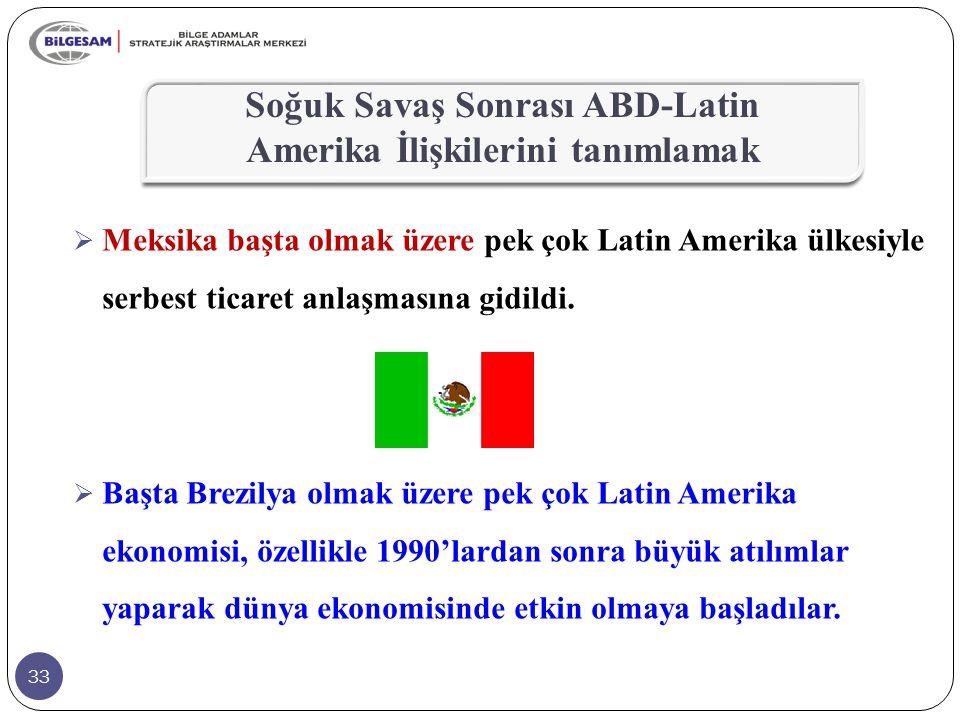 33  Meksika başta olmak üzere pek çok Latin Amerika ülkesiyle serbest ticaret anlaşmasına gidildi.  Başta Brezilya olmak üzere pek çok Latin Amerika
