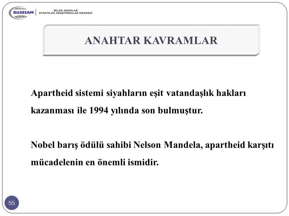 55 Apartheid sistemi siyahların eşit vatandaşlık hakları kazanması ile 1994 yılında son bulmuştur. Nobel barış ödülü sahibi Nelson Mandela, apartheid