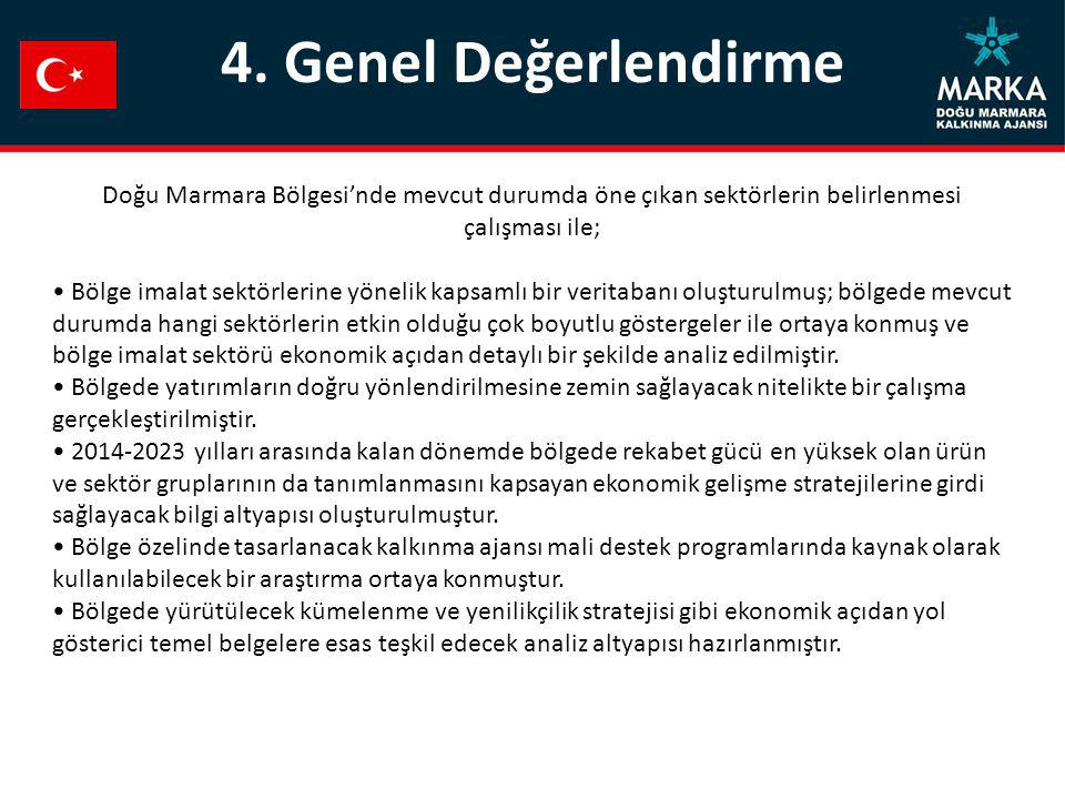 4. Genel Değerlendirme Doğu Marmara Bölgesi'nde mevcut durumda öne çıkan sektörlerin belirlenmesi çalışması ile; Bölge imalat sektörlerine yönelik kap