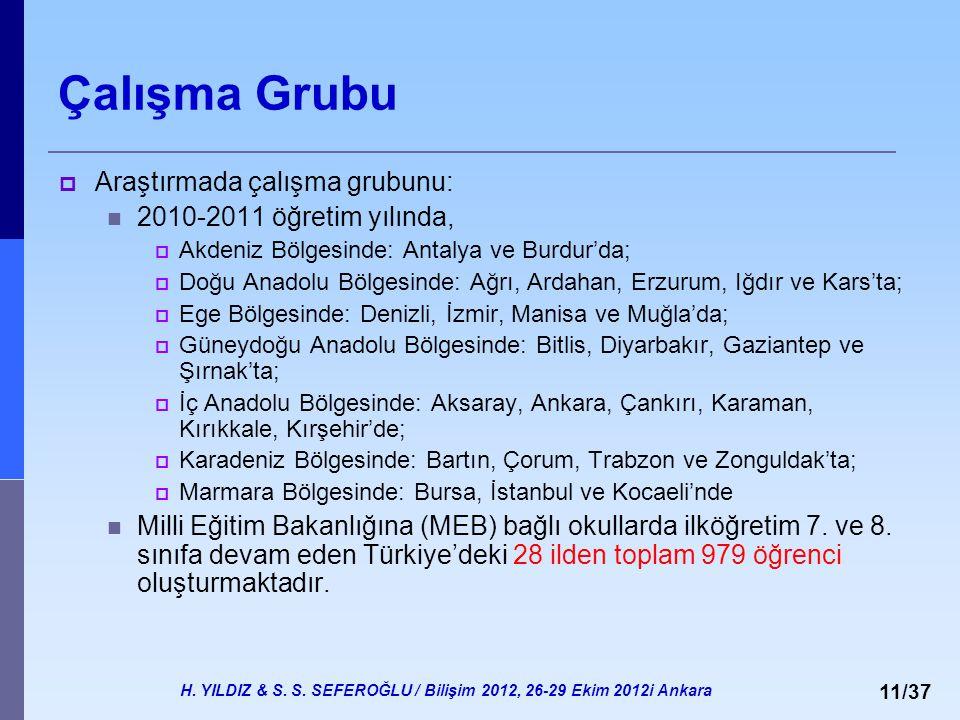 H. YILDIZ & S. S. SEFEROĞLU / Bilişim 2012, 26-29 Ekim 2012i Ankara 11/37 Çalışma Grubu  Araştırmada çalışma grubunu: 2010-2011 öğretim yılında,  Ak