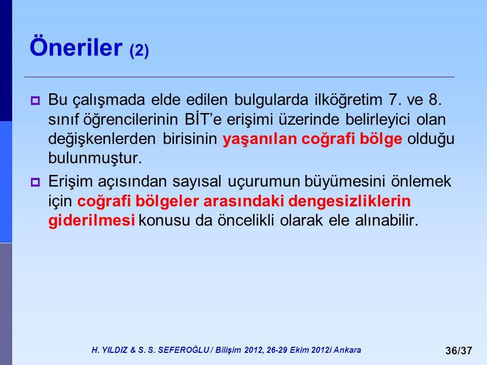 H. YILDIZ & S. S. SEFEROĞLU / Bilişim 2012, 26-29 Ekim 2012i Ankara 36/37 Öneriler (2)  Bu çalışmada elde edilen bulgularda ilköğretim 7. ve 8. sınıf