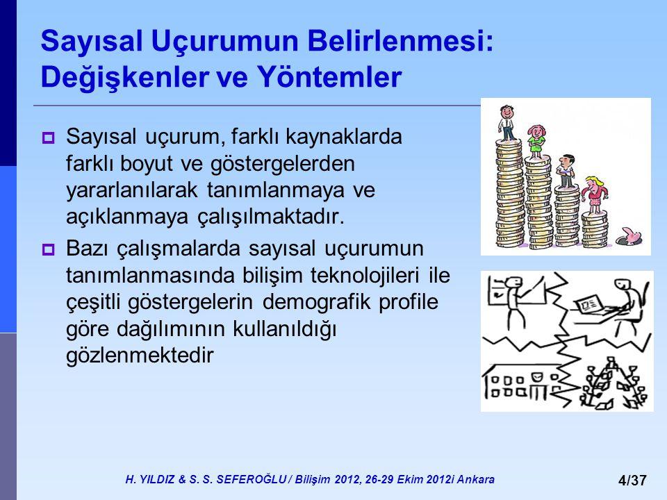 H. YILDIZ & S. S. SEFEROĞLU / Bilişim 2012, 26-29 Ekim 2012i Ankara 4/37 Sayısal Uçurumun Belirlenmesi: Değişkenler ve Yöntemler  Sayısal uçurum, far
