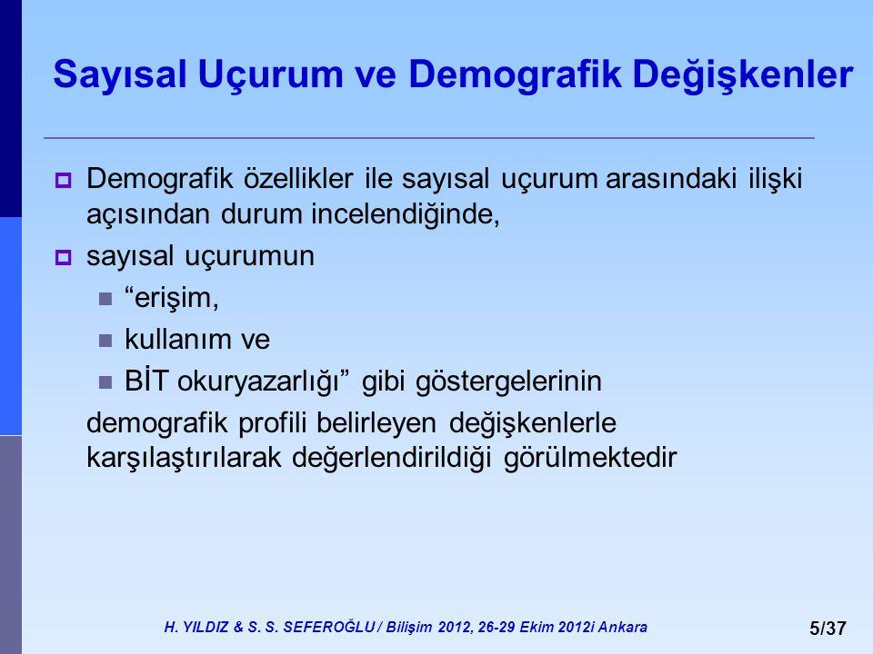 H. YILDIZ & S. S. SEFEROĞLU / Bilişim 2012, 26-29 Ekim 2012i Ankara 5/37 Sayısal Uçurum ve Demografik Değişkenler  Demografik özellikler ile sayısal