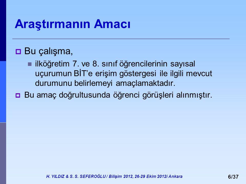 H. YILDIZ & S. S. SEFEROĞLU / Bilişim 2012, 26-29 Ekim 2012i Ankara 6/37 Araştırmanın Amacı  Bu çalışma, ilköğretim 7. ve 8. sınıf öğrencilerinin say