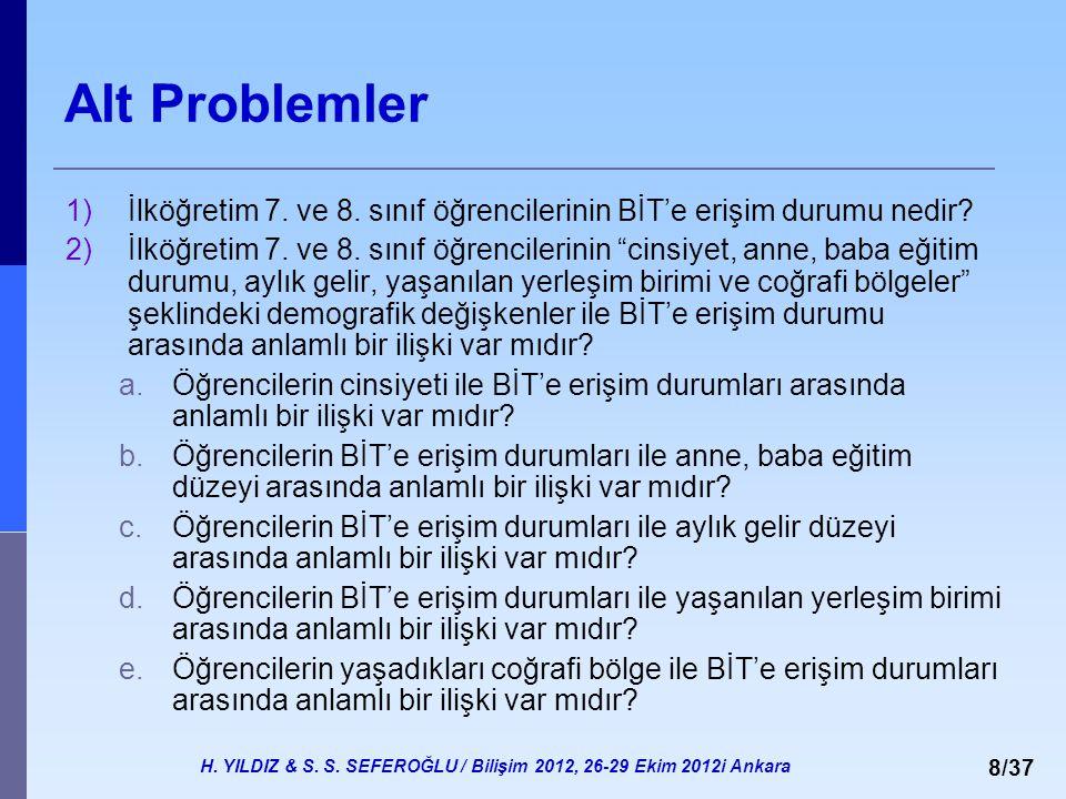 H. YILDIZ & S. S. SEFEROĞLU / Bilişim 2012, 26-29 Ekim 2012i Ankara 8/37 Alt Problemler 1)İlköğretim 7. ve 8. sınıf öğrencilerinin BİT'e erişim durumu